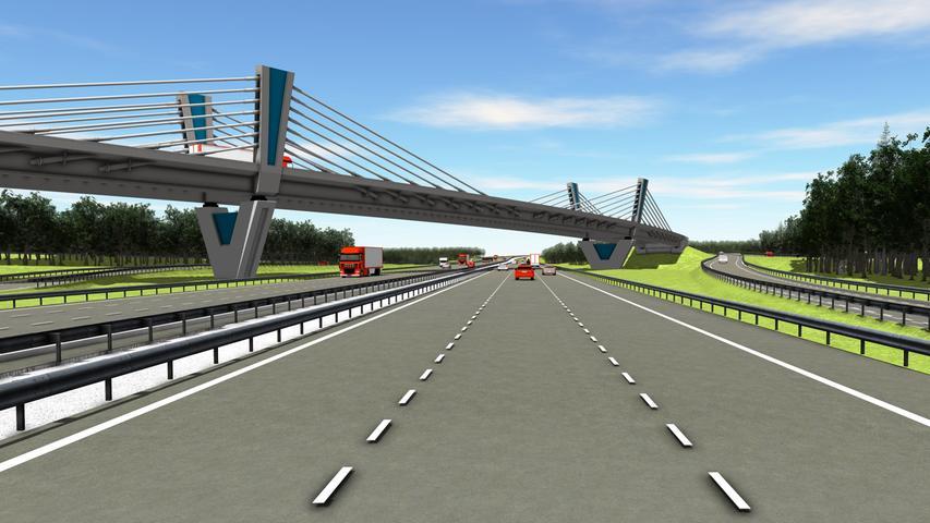 2021 werden die Rampen für diese 586 Meter lange Seilbrücke mit nur fünf Pfeilern gebaut. Ende 2024 soll alles fertig sein. Hier ist der neue Overfly von der A9 in Richtung München aus zu sehen.