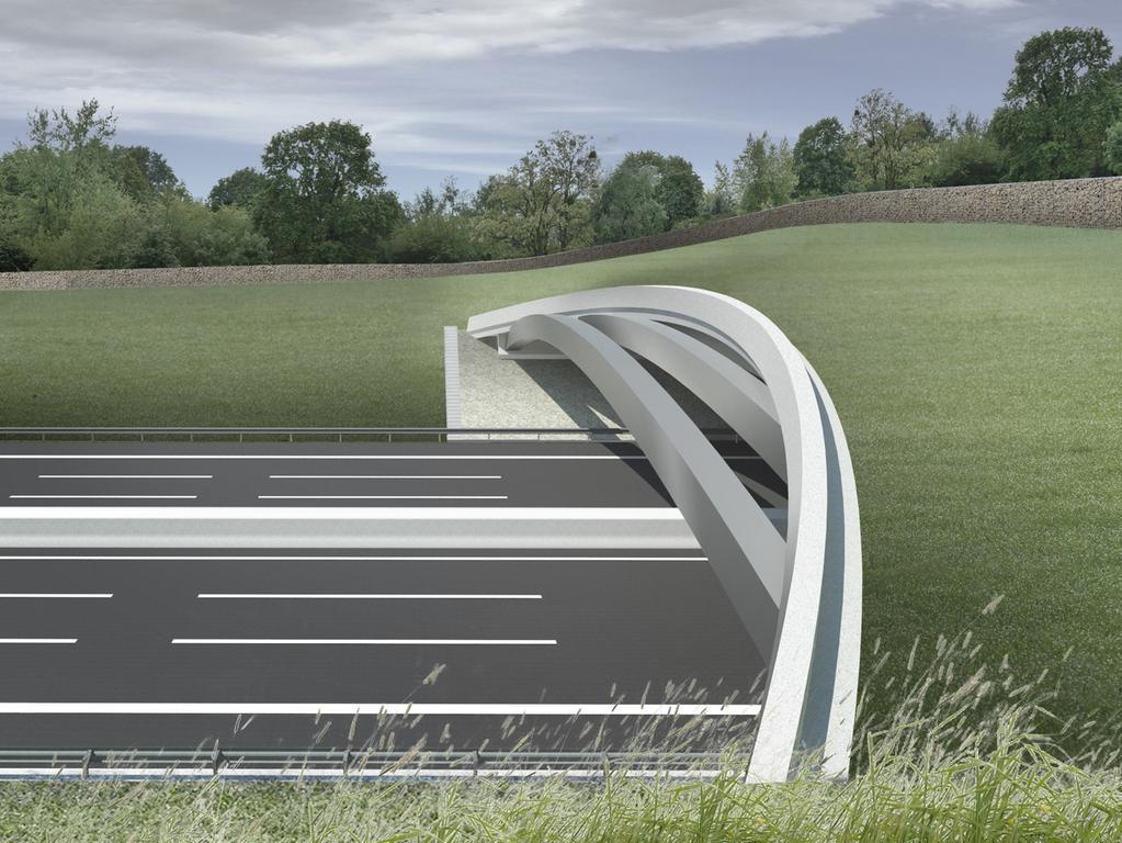 Foto: Autobahndirektion Nordbayern Motiv: Visusalisierung einer Grünbrücke an der Autobahn