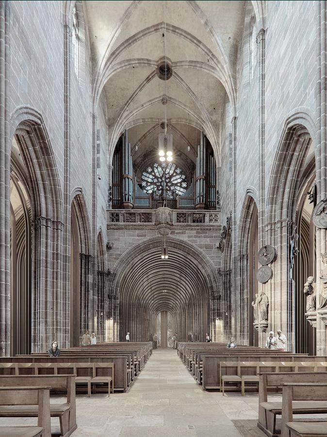 Eine Animation vom Hauptschiff der Lorenzkirche zum Westportal: Ein Windfang aus feinen Bronzestäben und Glas soll passgenau für den Eingangsbereich eingebaut werden.