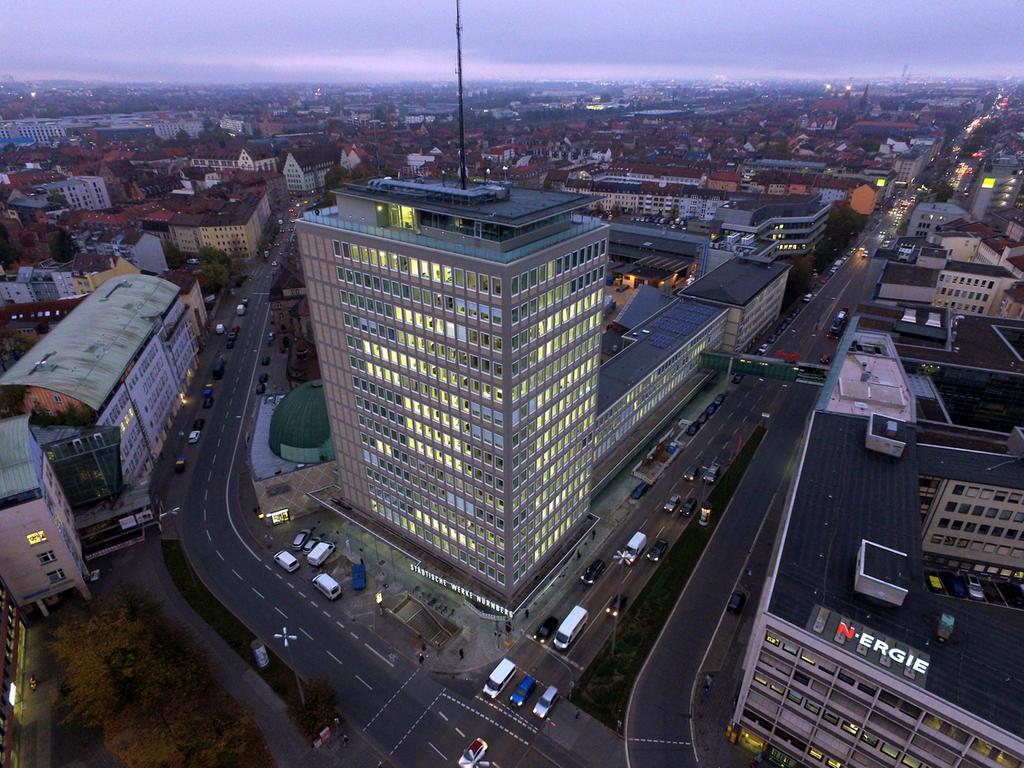 Motiv: Plärrer-Hochhaus, Plärrerhochhaus; Nürnberg Foto: Claus Felix, gesp. November 2020, presse@n-ergie.de