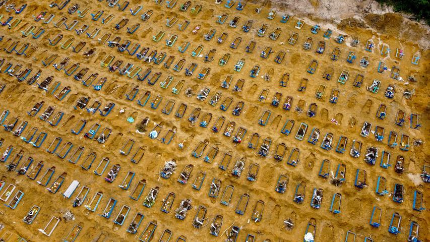 Die WHO registriert am 20. Mai 2020 innerhalb eine Tages 106.000 Infektionen weltweit – so viele wie noch nie binnen 24 Stunden. Brasilien wird zum neuen Hotspot der Pandemie, nach den USA weist das Land die höchsten Infektionszahlen auf. Ende Mai sind dort bereits über 20.000 Menschen an oder mit dem Virus gestorben, Bilder von massenhaft provisorisch ausgehobenen Gräbern gehen um die Welt.