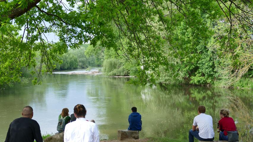 Das Fürther Flussdreieck mit dem Zusammenfluss von Pegnitz und Rednitz zur Regnitz ist ein beliebtes Naherholungsziel.