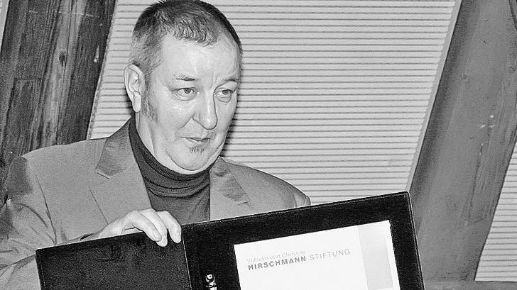 Ludwig Fels bei der Verleihung des Literaturpreises der Treuchtlinger Hirschmann-Stiftung im November 2009. Er verstarbim Alter von 74 Jahren in seiner Wahlheimat Wien.
