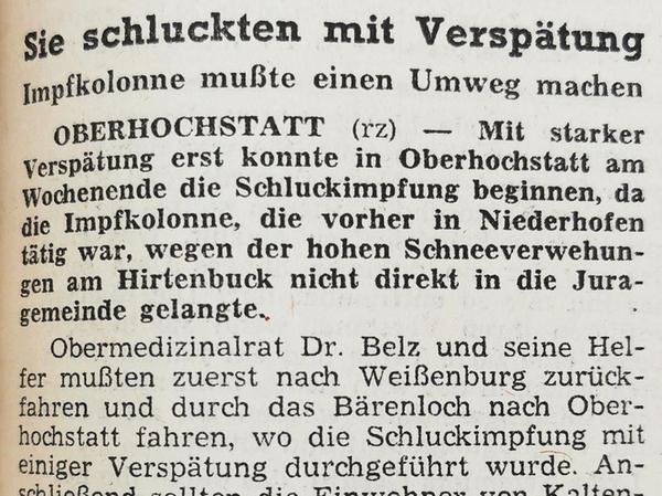 Im Februar 1962 waren die Polioimpfteam auch in Altmühlfranken unterwegs – und blieben teils im Schnee stecken.