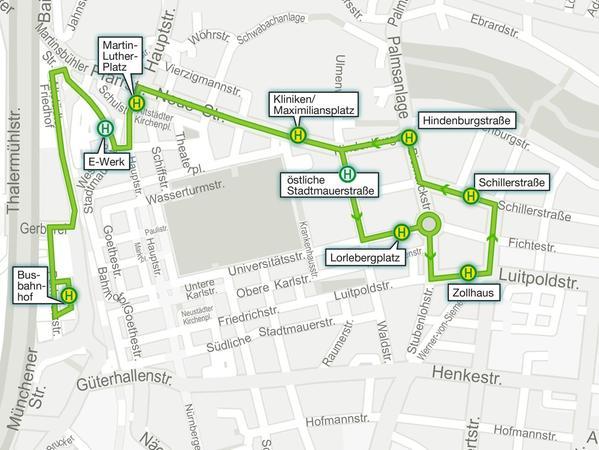 Auf der Karte ist der Verlauf der neuen Klinik-Linie markiert. Diese soll die Erlanger Innenstadt vom Verkehr entlasten.