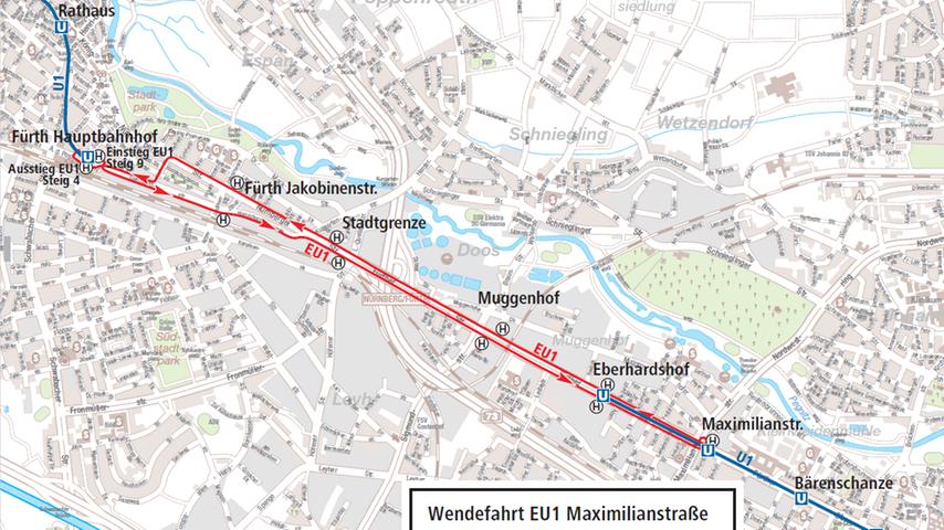 U-Bahn-Ersatzverkehr ab Montag, 1. Februar 2021, auf der Linie U1 zwischen den U-Bahnhöfen Maximilianstraße und Fürth Hauptbahnhof.