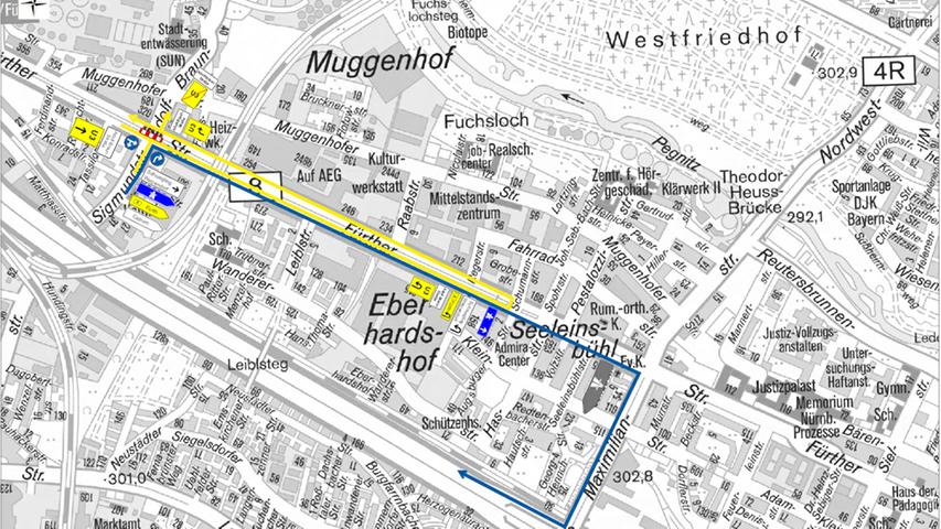 Auch im Straßenverkehr kommt es zu Einschränkungen: Umleitungen Richtung Schniegling/Wetzendorf/Adolf Braun Straße und Frankenschnellweg werden ausgeschildert.