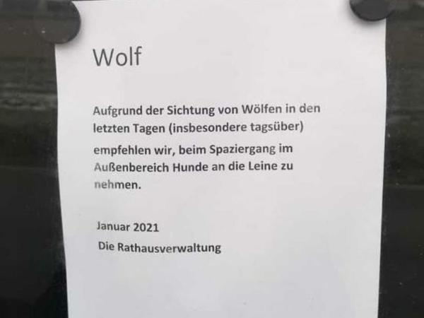 Per Aushang weist das Rathaus auf die Sichtung von Wölfen hin.