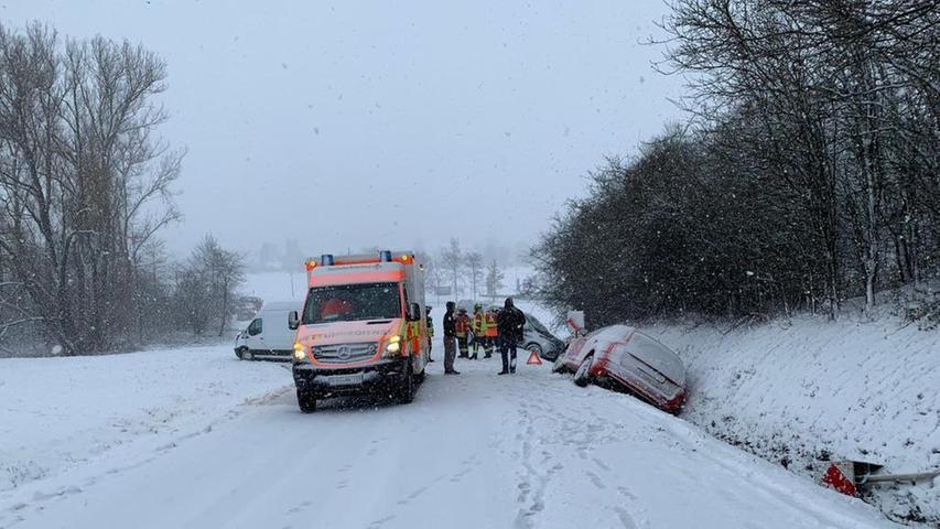 Starker Schneefall: Unfälle im Landkreis Forchheim und in der Fränkischen Schweiz