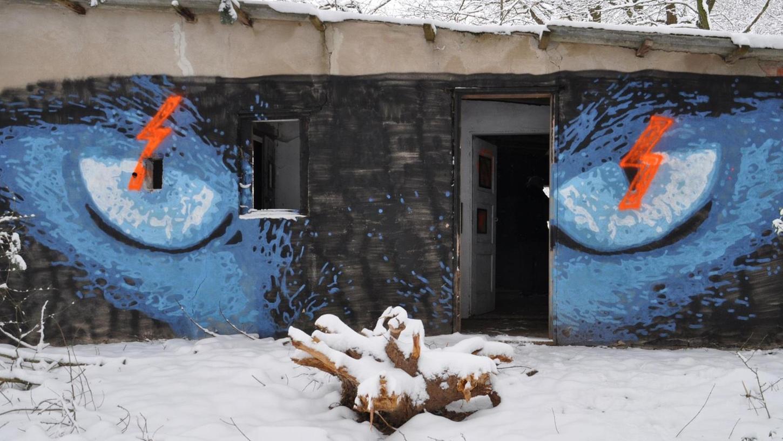 """Orange Farbe haben Unbekannte über die katzenähnlichen Augen am Eingang zur """"hidden gallery"""" von Lonnerstadt gesprüht."""