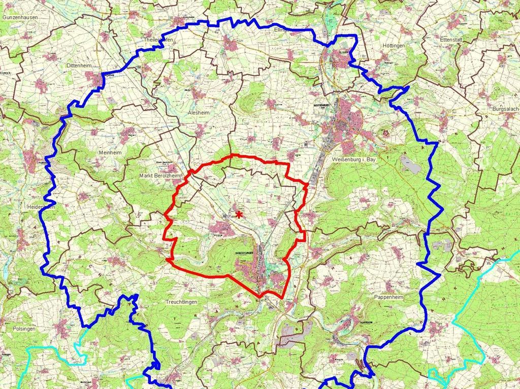 Der rot markierte Sperrbezirk umfasst das Stadtgebiet von Treuchtlingen samt Bubenheim, Wettelsheim und Graben sowie Randbereiche der Gemeinden Alesheim, Markt Berolzheim und Weißenburg. Das blau umrandete Beobachtungsgebiet erstreckt sich bis Langenaltheim, Ellingen, Heidenheim und Pappenheim.
