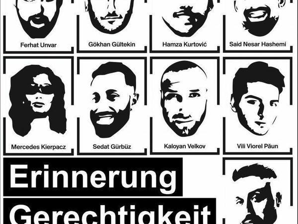 Das Veranstaltungsbild für die diesjährige Gedenkkundgebung für die Opfer des rassistischen Anschlags von Hanau.