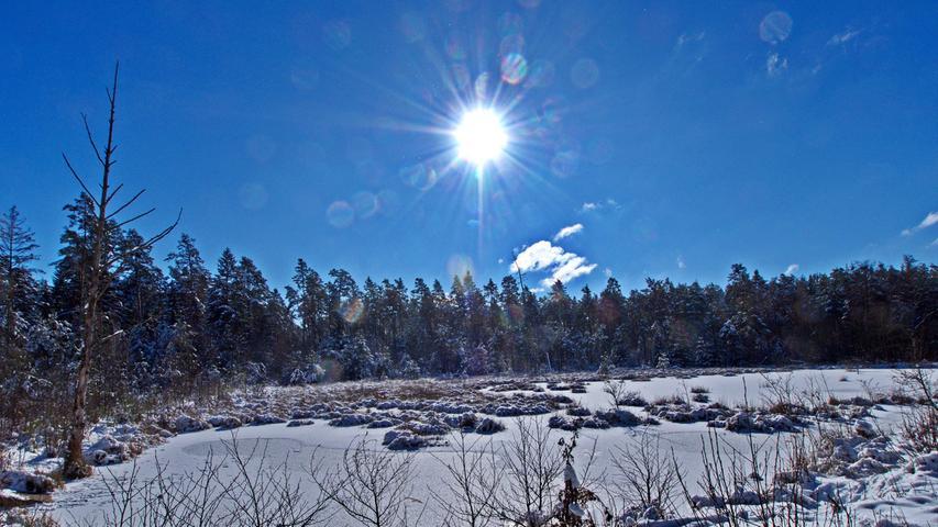 Dieses schöne Fleckchen Erde ist das Gründlacher Moor im Sebalder Reichswald. Auch im Winter einen Besuch wert.