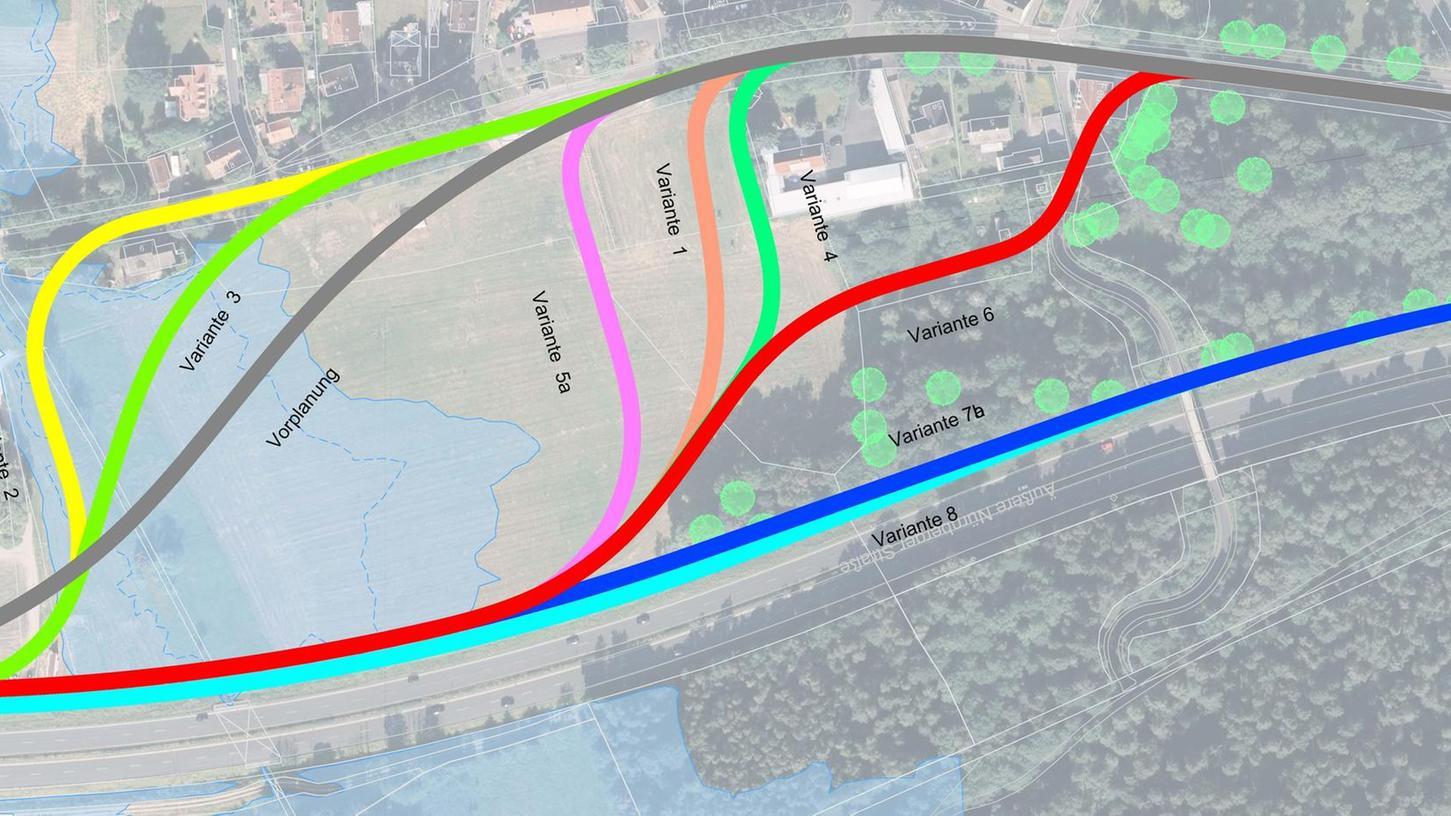 Eine Übersicht der StUB-Trassenvarianten für Tennenlohe. Entschieden hat man sich für Version 9, die eine optimierte Ausführung der hier gezeigten Variante 1 darstellt.