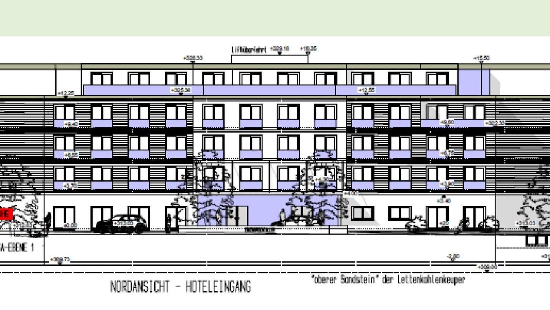 Die Nordansicht samt Eingangsbereich des künftigen 340-Betten-Hotels im Norden der Kurstadt.