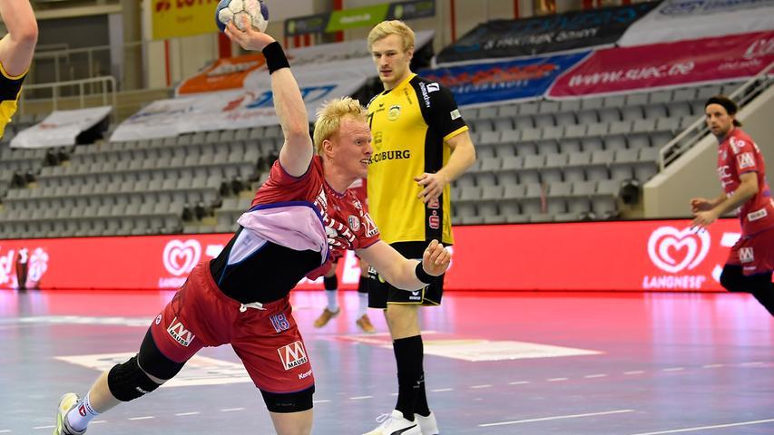 18.02.2021 --- Handball --- 1. Bundesliga LIQUI MOLY HBL --- Saison 2020 2021 --- 19. Spieltag: HSC 2000 Coburg - HC Erlangen Metropolregion Nürnberg HCE --- Foto: Sport-/Pressefoto Wolfgang Zink / WoZi --- Sebastian Firnhaber (18, HC Erlangen HCE )