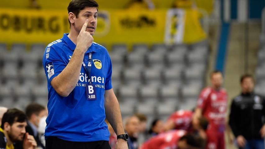18.02.2021 --- Handball --- 1. Bundesliga LIQUI MOLY HBL --- Saison 2020 2021 --- 19. Spieltag: HSC 2000 Coburg - HC Erlangen Metropolregion Nürnberg HCE --- Foto: Sport-/Pressefoto Wolfgang Zink / WoZi --- Alois Mraz (Trainer HSC 2000 Coburg )