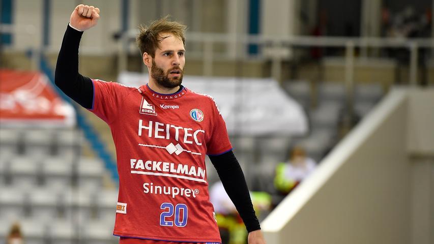 18.02.2021 --- Handball --- 1. Bundesliga LIQUI MOLY HBL --- Saison 2020 2021 --- 19. Spieltag: HSC 2000 Coburg - HC Erlangen Metropolregion Nürnberg HCE --- Foto: Sport-/Pressefoto Wolfgang Zink / WoZi --- Nico Büdel Buedel (20, HC Erlangen ) ballt Faust / Fäuste