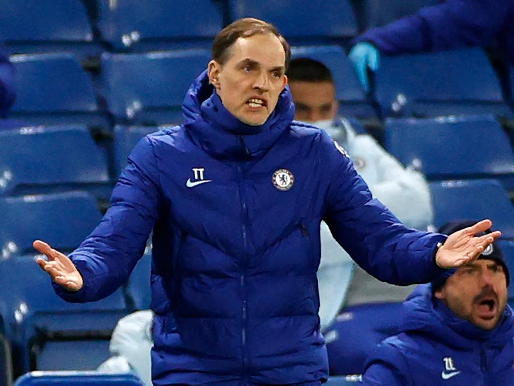 Chelsea's German head coach Thomas Tuchel gestures on the touchline during the English Premier League football match between Chelsea and Everton at Stamford Bridge in London on March 8, 2021. (Photo by JOHN SIBLEY / POOL / AFP) / RESTRICTED TO EDITORIAL USE. No use with unauthorized audio, video, data, fixture lists, club/league logos or 'live' services. Online in-match use limited to 120 images. An additional 40 images may be used in extra time. No video emulation. Social media in-match use limited to 120 images. An additional 40 images may be used in extra time. No use in betting publications, games or single club/league/player publications. /