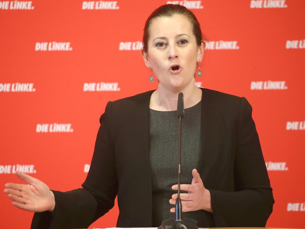 08.03.2021, Berlin: Janine Wissler, Parteivorsitzende der Partei Die Linke, gibt eine  Pressekonferenz. Foto: Wolfgang Kumm/dpa +++ dpa-Bildfunk +++