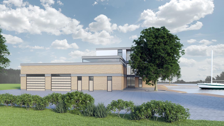 So soll das neue Clubhaus des Yacht-Clubs Nürnberg am Dutzendteich aussehen, entworfen vom Architekten Manfred Witt.