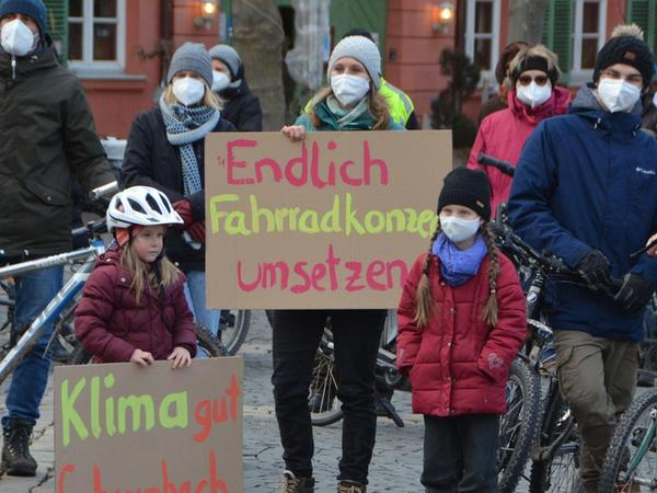 Global denken, lokal handeln: Auch für die Schwabacher Kommunalpolitik gibt es einiges zu tun, finden diese Kundgebungsteilnehmer.