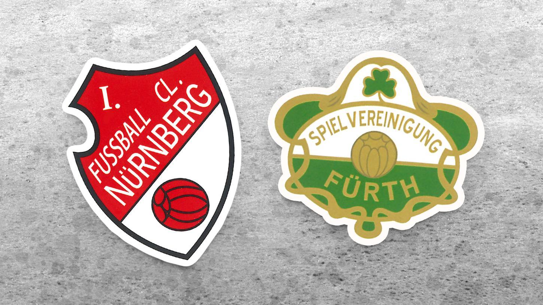 Zwei traditionelle Wappen des 1. FC Nürnberg und der SpVgg Greuther Fürth aus demBuch von Hardy Grüne.