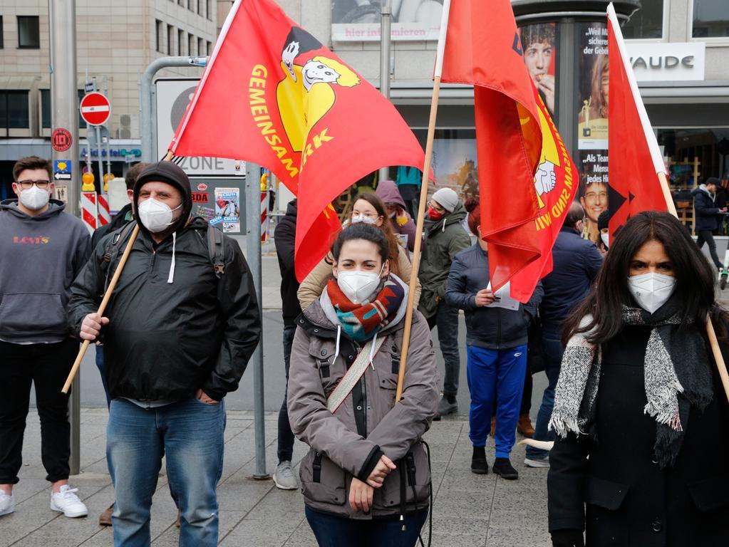 Nürnberg  , am 21.03.2021 Ressort: Lokales  Foto: Michael Matejka Kornmarkt, Bündnis Nazistopp Demo am  Kornmarkt, Bündnis Nazistopp: