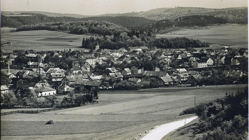 Blick vom Patrich/Hahnenkammstraße auf dasmit vielen Jurahaus-Dächern durchsetzte Treuchtlingen Anfang/Mitte des vorigen Jahrhunderts