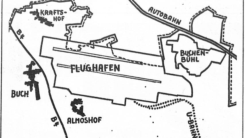 Nürnbergs Flughafen will den Start in seine Zukunft nicht verpassen: der Stadt wurde ein General-Ausbauplan vorgelegt, der die Kapazität des Hafens stufenweise bis auf acht Millionen Passagiere (gegenwärtig über 500 000 und 150 000 Tonnen Fracht, jetzt 10 000 Tonnen) im Jahr steigern soll. Deshalb soll das Flughafengelände teilweise bis über die derzeitigen Stadtgrenzen hinaus vergrößert und – parallel verschoben zur jetzigen Landebahn – eine zweite Piste entstehen. Hier geht es zum Kalenderblatt vom 26. März 1971:Zweite Landebahn bringt weniger Lärmbelästigung