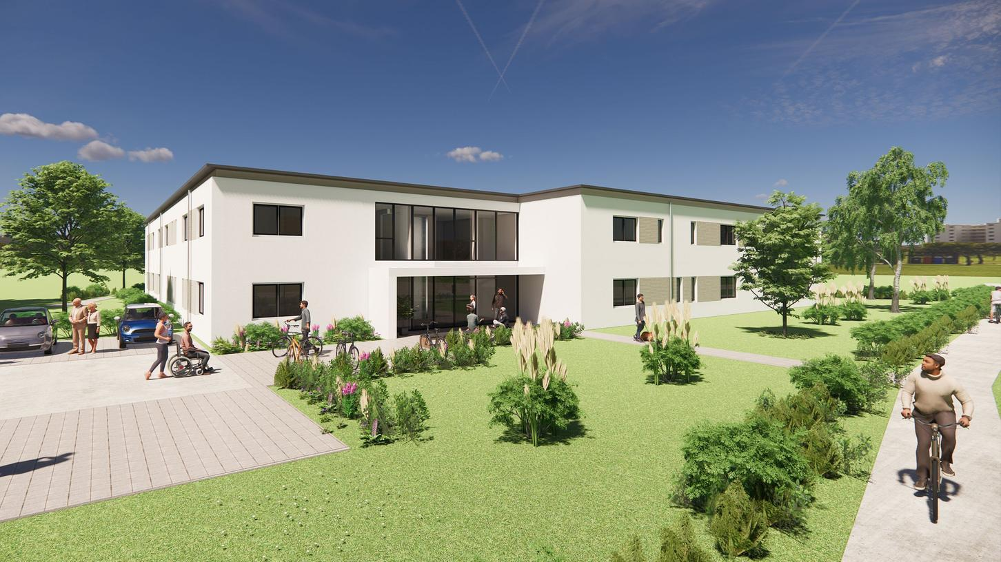 So soll das neue Wohnheim der Rummelsberger Diakonie von der Straße aus einmal aussehen – Blick in Richtung Stadtmitte und Therme (Westen).