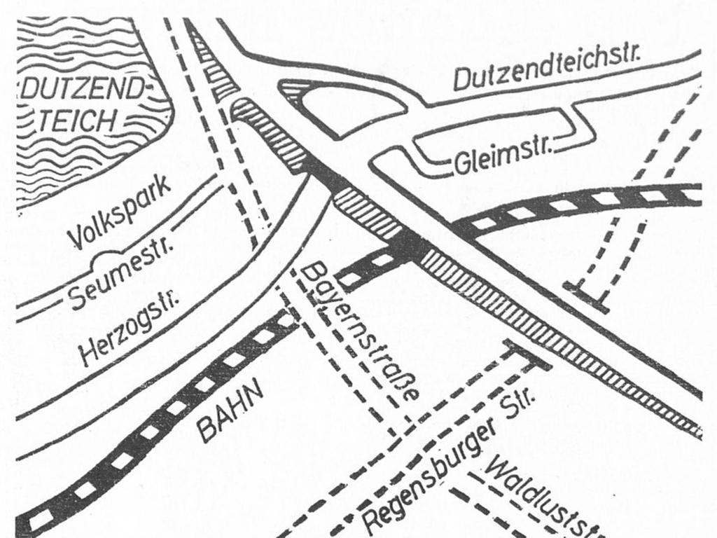 Der vierte Vorschlag: die hochgelegte Bayernstraße überspannt die Bahngleise und die Herzogstraße. Diese Lösung setzt voraus, daß die Langwassertrasse an Bedeutung gewinnt und die Regensburger Straße durch die Südosttangente so entlastet wird, daß sie durchschnitten werden kann.