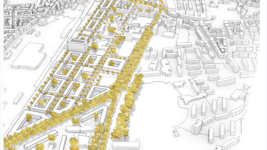 Ein kühner Entwurf kommt von der Uni: Studenten haben den Frankenschnellweg komplett aus dem Netz genommen und den verbleibenden Verkehr über eine Diagonale in die Fuggerstraße geleitet. So würde ein verkehrsberuhigtes Quartier entstehen.