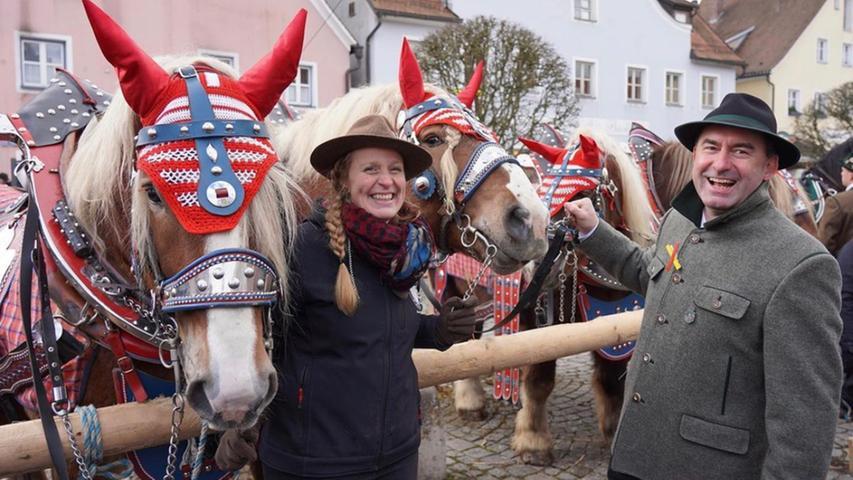Mehr als 100 Pferde und Gespanne werden jedes Jahr Anfang Februar in Berching (Landkreis Neumarkt) aufgetrieben und zur Schau gestellt. Im Februar 2020 war auch Bayerns Wirtschaftsministeram Start und hatte sichtlich Spaß.
