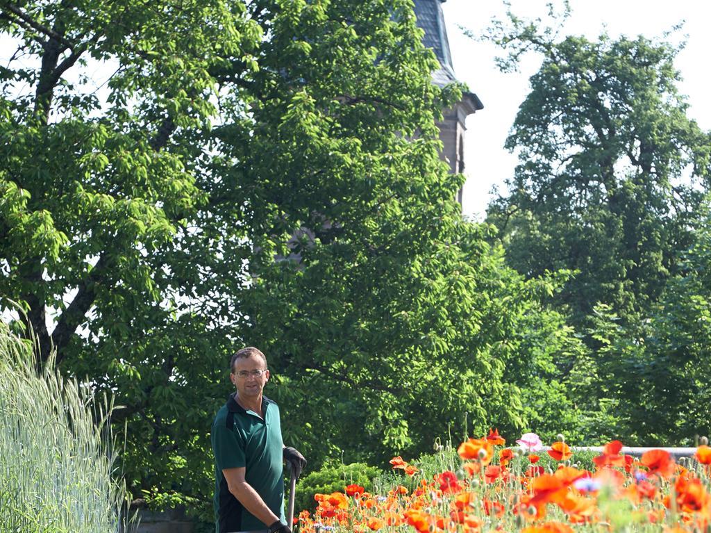 Damit sich die Cadolzburg strahlend präsentiert, kümmern sich Friedrich Knoll und Christian Döring um den Garten und Instandsetzungsarbeiten