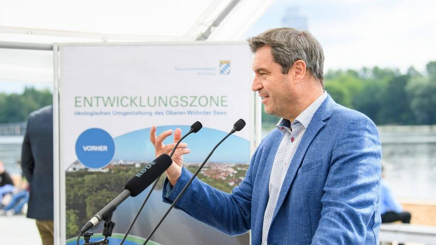 """Ein von Söder als Umweltminister angestoßenes innerstädtisches Wasserprojekt in Nürnberg wird 2016 fertig. Die Badebucht am Wöhrder See bekommt den Beinamen """"Söder-Bucht """"."""