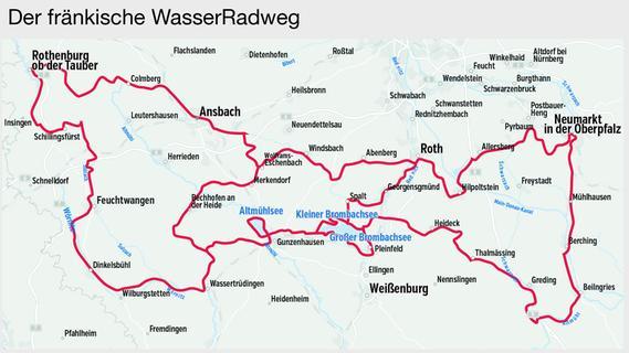 Der Streckenverlauf des Fränkischen WasserRadwegs