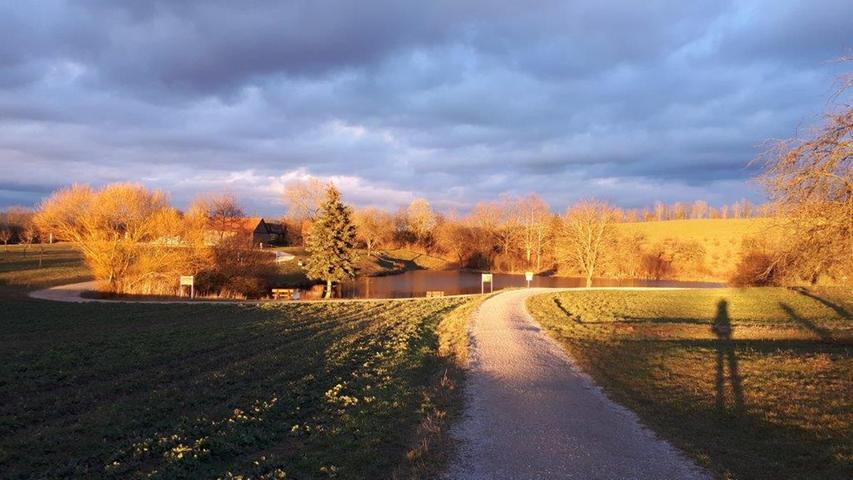 Manchmal spielt die 73-Jährige aus Erlangen auch mit dem Schatten, der ihre Beine beim Spaziergang in der Natur in die Länge zieht.
