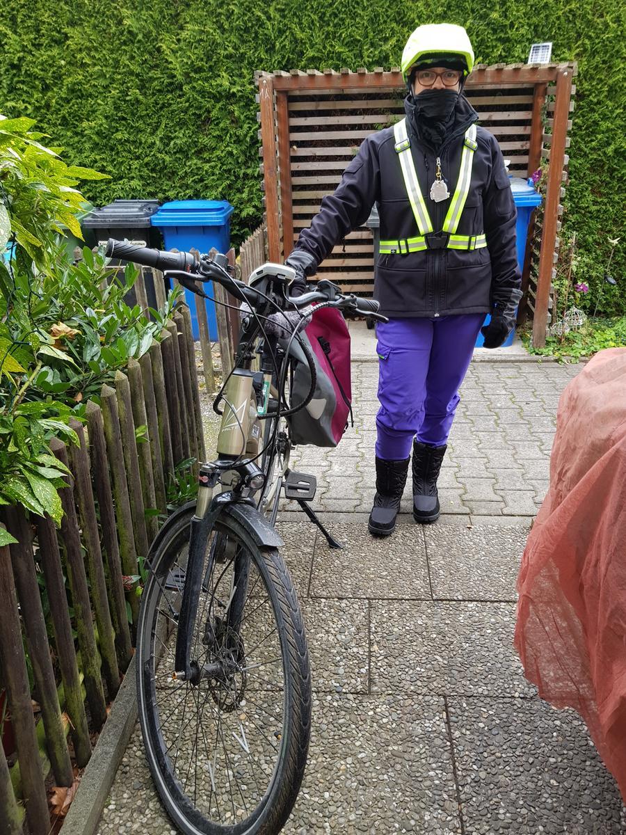Foto: Anja Ringler (ladefrosch@nefkom.net) Motiv: Mutmach-Aktion, Mutmach; Lokalsport; Lokalsportpool, Kriegenbrunn so komme ich sportlich durch den Lockdown; Radfahrern 20-40km, gut eingepackt,  bei jedem Wetter;