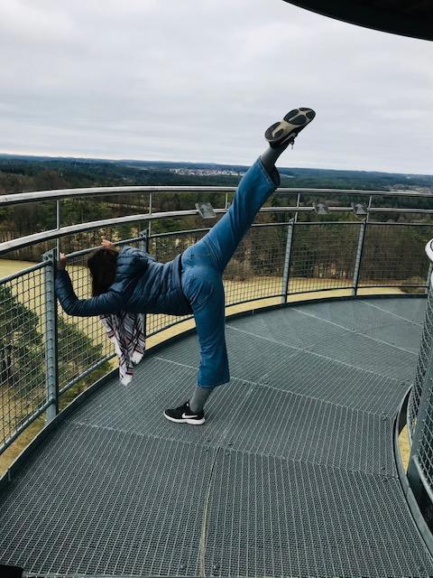 Damit der Alltag nicht zu eintönig wird, war Riazanova mit ihrer Tochter auch mal auf der Himmelsleiter in Pottenstein - wo man ebenfalls Sport machen kann.