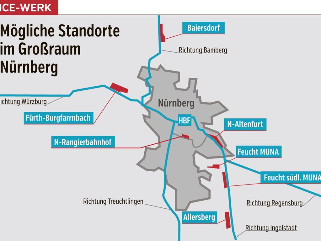 Die Deutsche Bahn hat insgesamt sieben Standorte für das geplante ICE-Werk im Großraum Nürnberg benannt.