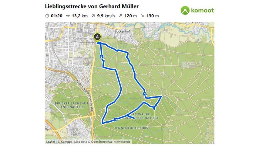 Hier geht es zur Lieblingsstrecke von Gerhard Müller auf komoot.  © OpenStreetMap-Mitwirkende