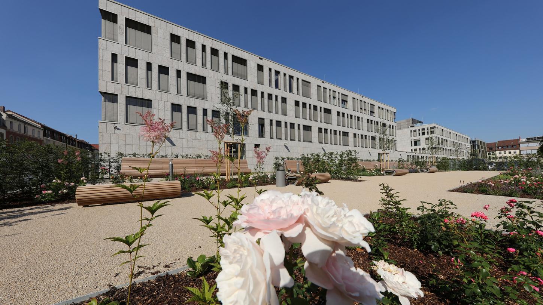 Ein Foto der 2015 fertig gestellten Datev-Gärten. Genauso leer sind die Gärten aktuell - und werden das auch noch bleiben, bis es das Infektionsgeschehen wieder zulässt.