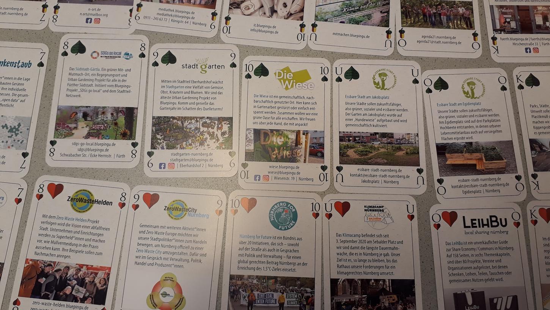 Bluepingu hat ein Schafkopfspiel herausgebracht, das auf 36 fränkischen Spielkarten zukunftsfähige Orte vorstellt.