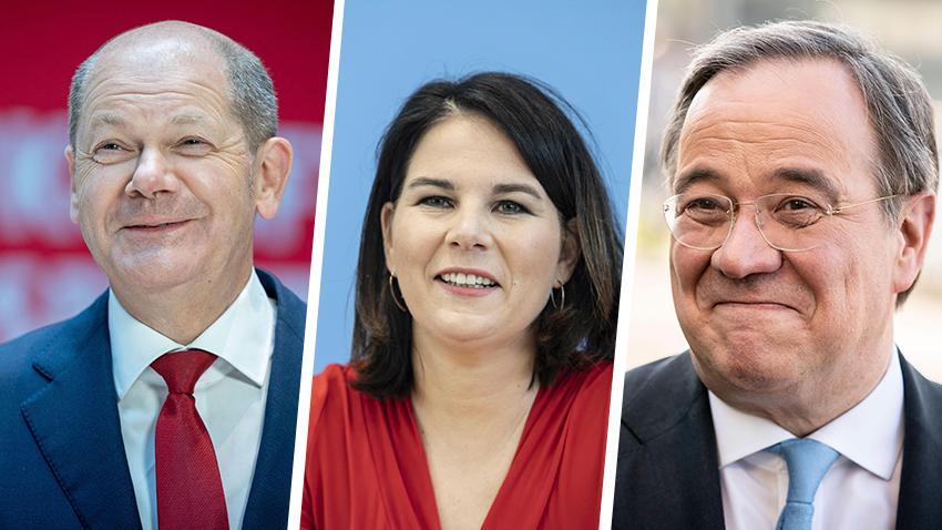 Zwei Kandidaten, eine Kandidatin: Berlin-Korrespondent Harald Baumer hat sich mit Olaf Scholz (SPD), Annalena Baerbock (Grüne) und Armins Laschet (CDU) beschäftigt.