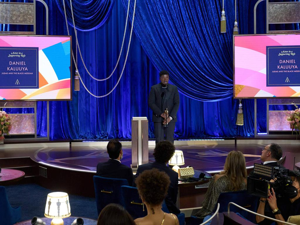 Daniel Kaluuya accepts the Oscar for Best Actor in a Supporting Role during the live ABC Telecast of The 93rd Oscars at Union Station in Los Angeles, CA on Sunday, April 25, 2021. Los Angeles CA USA PUBLICATIONxINxGERxSUIxAUTxONLY Copyright: xToddxWawrychukx 34135663THA