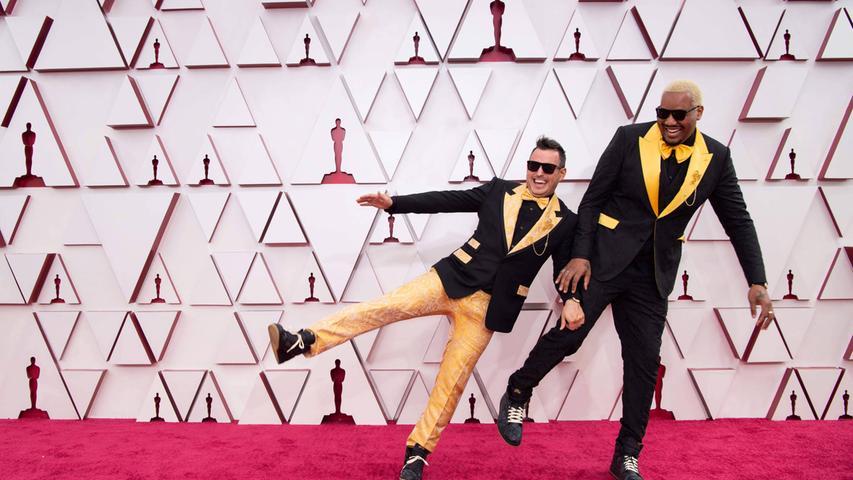 Top: Die gelb-schwarzen Smokings (Dolce & Gabbana) von Travon Free und Martin Desmond Roe hätten eigentlich gute Chancen auf einen Platz im