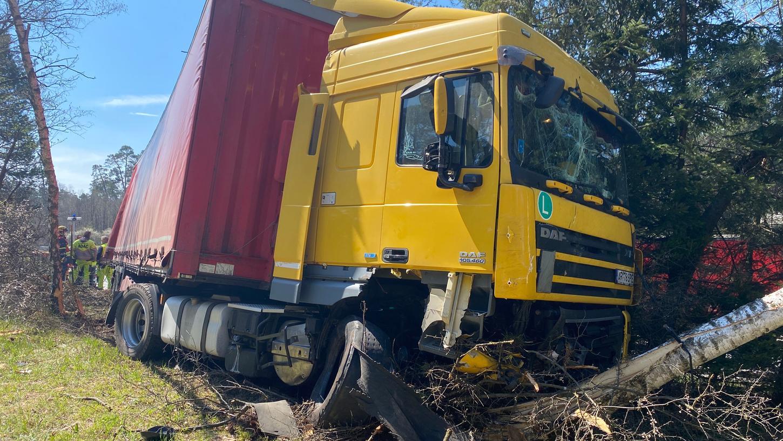 Aufgrund eines Reifenplatzers kamam Dienstag zwischen Altdorf und dem Kreuz Nürnberg ein Laster ins Trudeln. Erst an einem massiven Baum endete die Fahrt.