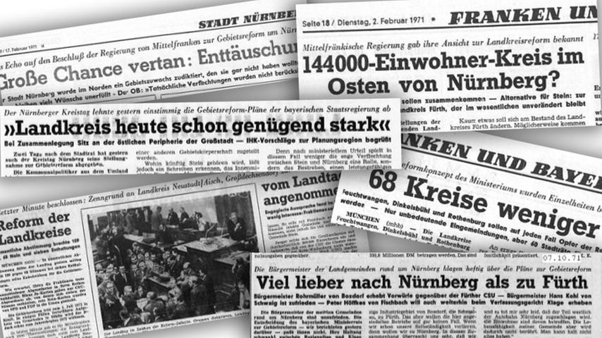 Die Gebietsreform von 1972 wurde in und um Nürnberg stark diskutiert. Nicht jeder Stadtteil war mit dem Ausgang zufrieden.