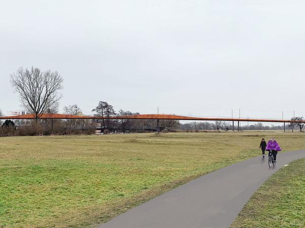 Elegant und unauffällig soll sich die Brücke der Stadt-Umland-Bahn über das Regnitztal schwingen.